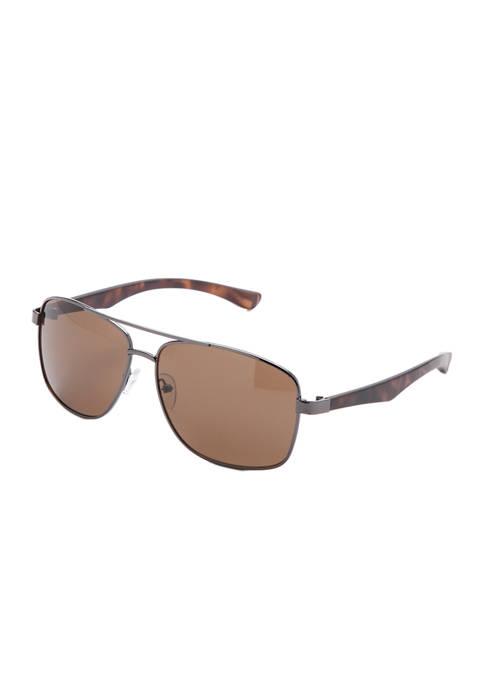 Ocean & Coast® Metal Tortoise Sport Wrap Sunglasses