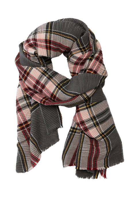 Marcus Adler Pleated Plaid Mid Weight Scarf