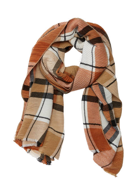 Marcus Adler Pleated Plaid Midweight Scarf
