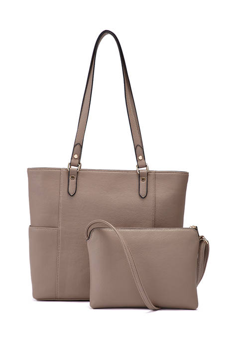 2 in 1 Tote with Exterior Slide Slip Pockets and Crossbody