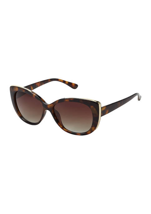 Plastic Cat Eye Sunglasses with Metal Details