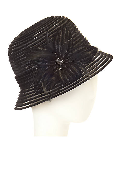 F&M Hats Velvet Cloche with Flower Jewel