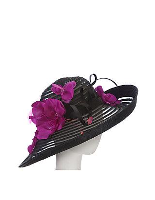 fc684c65 F&M Hats. F&M Hats Black With Magenta Flower Hat
