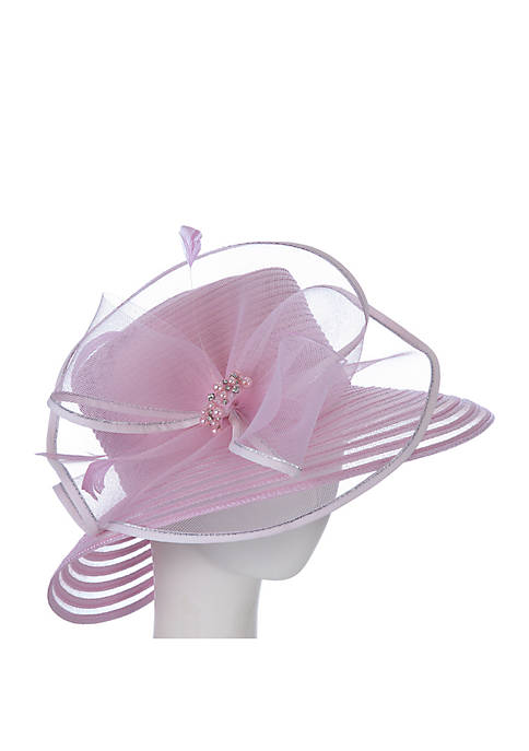 F&M Hats Sheer Stripe Hat with Bow