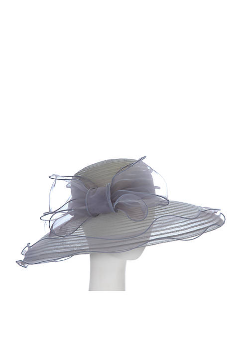 Sheer Large Brim Hat With Organza Bow
