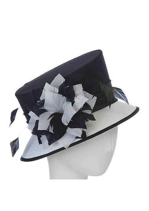 1815e754 F&M Hats Contrast Hat with Feather Flower | belk