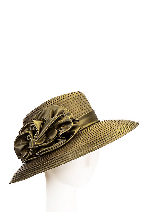 Giovannio Womens Satin Ribbon Lampshade Hat with Flower