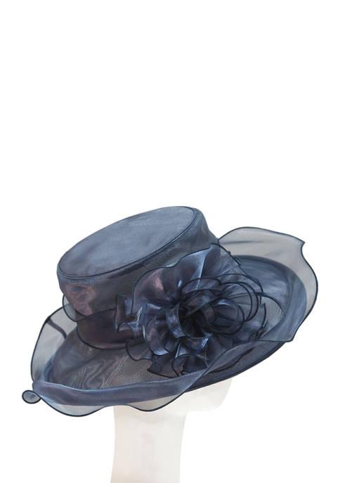 Organza Flower Flat Brim Hat