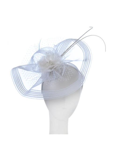 Flower and Feather Veil Fascinator