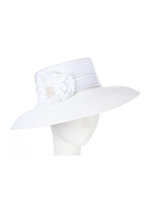 Giovannio Taffeta Braid Lampshade Dress Hat with Satin