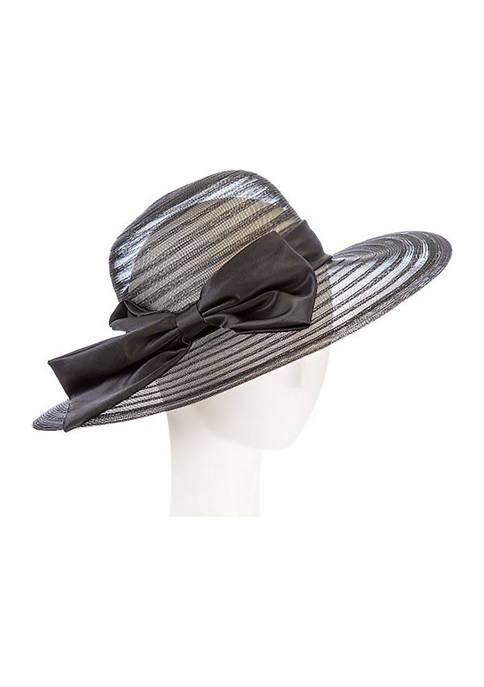 Giovannio Chiffon Ribbon Swinger Hat with Large Satin