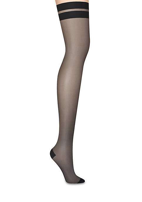 DKNY Sheer Stripe Tip Thigh High Tights