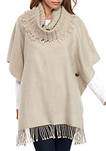 Solid Poncho with Knit Collar