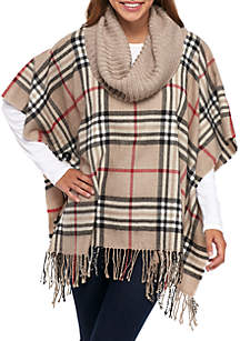 Plaid Poncho with Knit Collar