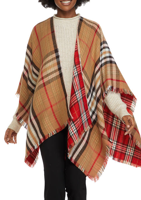 Double Plaid Reversible Ruana