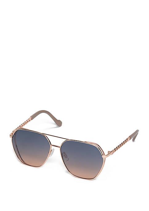 Jessica Simpson Geo Metal Aviator Sunglasses