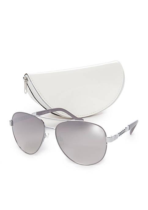 Jessica Simpson Mirrored Chain Temple Aviator