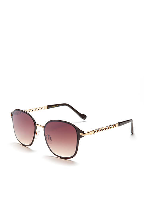 Jessica Simpson Square Sunglasses with Chain Temple Detail