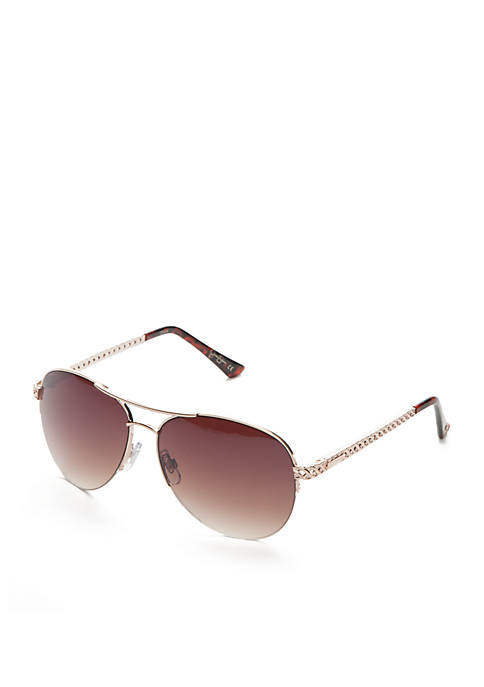 Jessica Simpson Semi Rimless Aviator Sunglasses