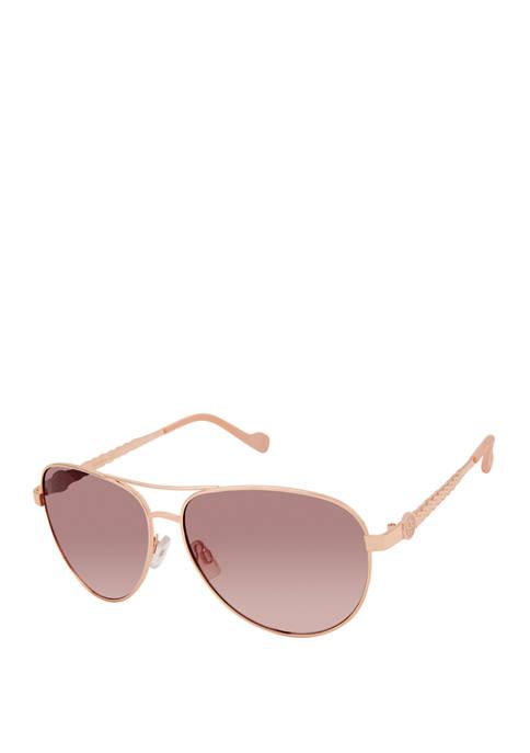 Jessica Simpson Metal Aviator Logo Sunglasses
