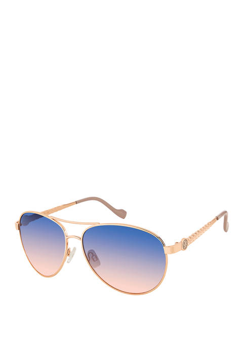 Jessica Simpson Metal Aviator Logo Sunglasses