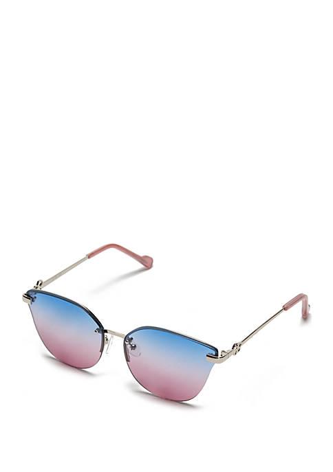 Rimless Ombre Cat Eye Sunglasses