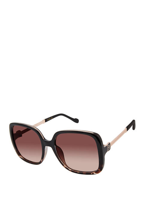 Jessica Simpson Plastic Square Metal Temple Sunglasses