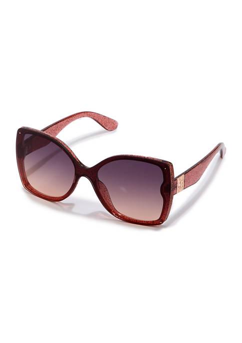 Jessica Simpson Glam Glitter Plastic Sunglasses