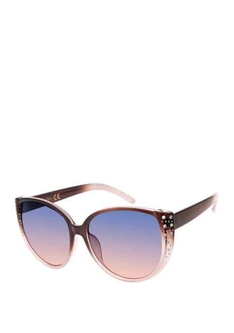 Jessica Simpson Oversize Cat Eye Rhinestone Sunglasses