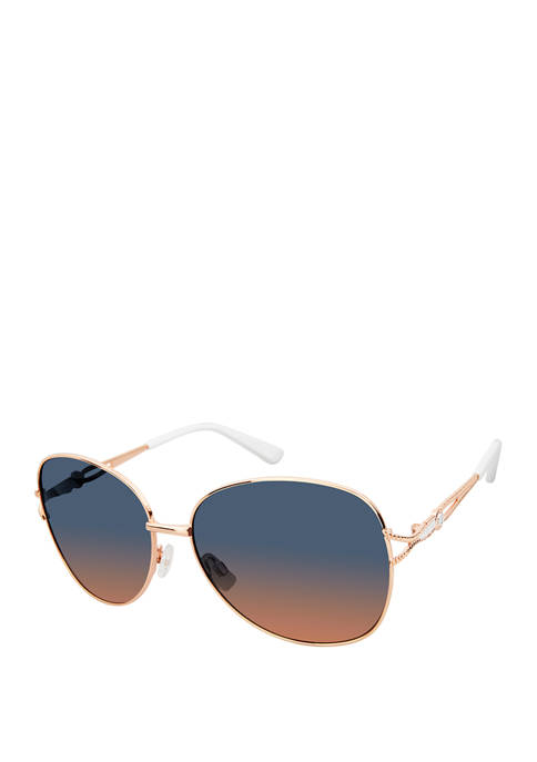 New Directions® Oval Metal Glam Sunglasses