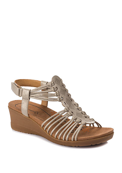 Trudy Champagne Wedge Sandals