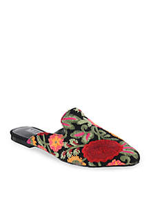 Cameo Embroidered Floral Mule Flat