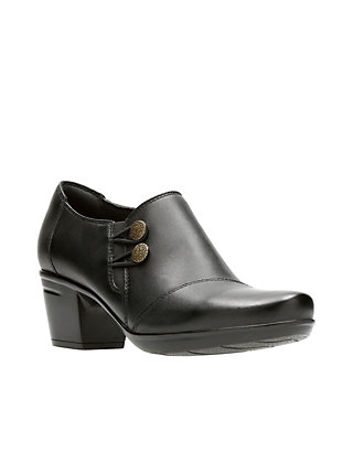 Ladies Clarks Emslie Warren Black Leather Trouser Shoes E Fitting