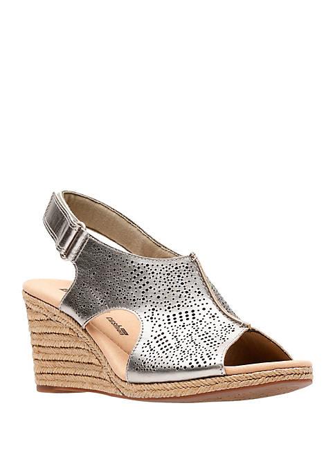 Lafley Rosen Laser Cut Wedge Sandals