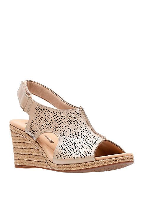 Clarks Lafley Rosen Laser Cut Wedge Sandals
