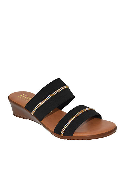 Italian Shoemakers Two Band Low Wedge Slide Sandals