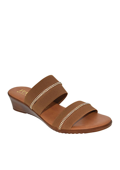 Two Band Low Wedge Slide Sandals