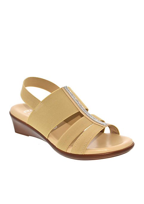 Italian Shoemakers Cache Stretch Slingback Wedge Sandal