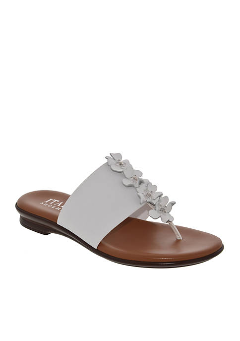 Italian Shoemakers Genieve Low Wedge Flower Thong Sandals