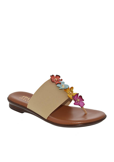 Italian Shoemakers Genieve Low Wedge Flower Thong Sandals