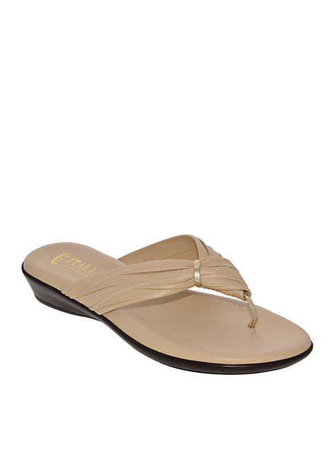 Italian Shoemakers Leela Ruched Thong Low Wedge Sandals