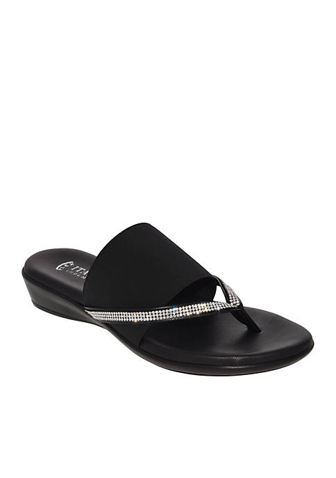 Luxi Bejeweled Flat Stretch Thong Sandals