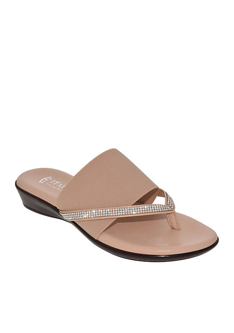 Italian Shoemakers Luxi Bejeweled Flat Stretch Thong Sandals