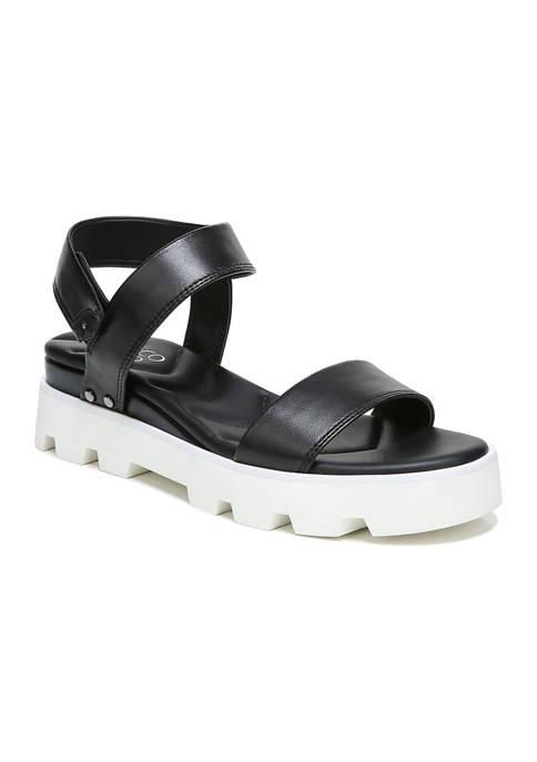 Franco Sarto L-Umber Black Lugged Sandals