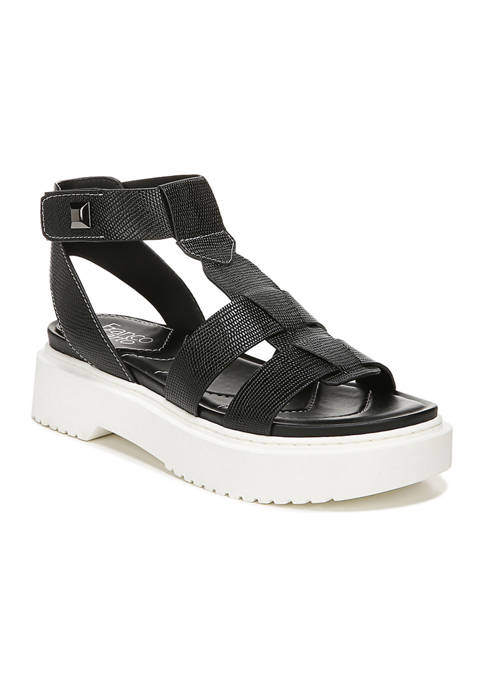 Franco Sarto L-Wallow Black Lugged Sandals