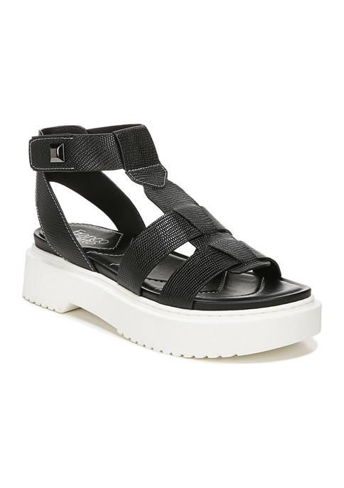 L-Wallow Black Lugged Sandals