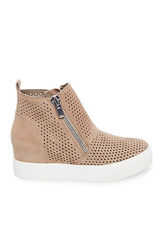 Steve Madden Wedgie Perforated Suede Sneakers vZShl