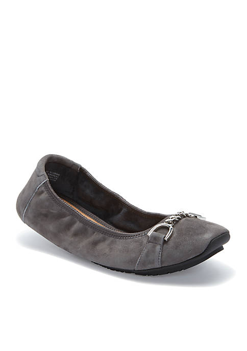 me Too Brielle Square Toe Suede Flat