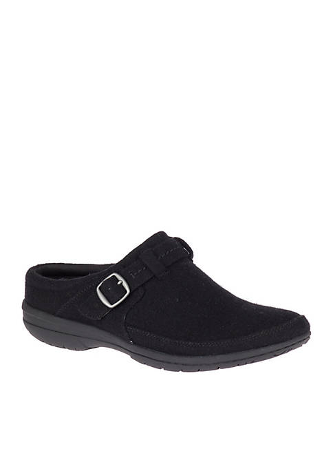 Black Wool Kassie Buckle Slip-On Shoe