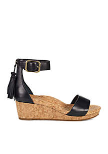 Zoe Ankle Strap Wedge Black